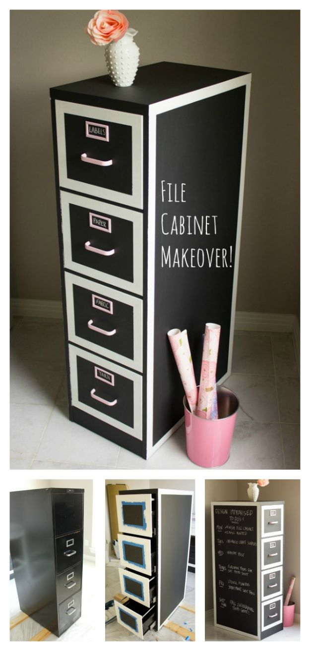 Craft Room Organization Ideas - File Cabinet Makeover - DIY Dollar Store Projects for Crafts - Budget Ways to Declutter While Organizing Supplies - Shelves, IKEA Hacks, Small Space Ideas