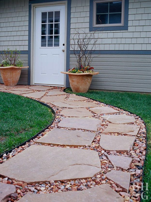 DIY Walkways - Flagstone Walkway - Do It Yourself Walkway Ideas for Paths to The Front Door and Backyard - Cheap and Easy Pavers and Concrete Path and Stepping Stones - Wood and Edging, Lights, Backyard and Patio Walks With Gravel, Sand, Dirt and Brick #diyideas