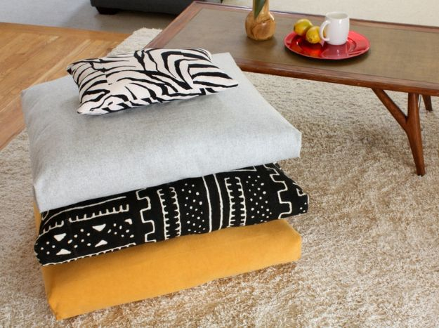 DIY Sewing Projects for the Home - Floor Cushions - Easy DIY Christmas Gifts and Ideas for Making Kitchen, Bedroom and Bathroom Decor - Free Step by Step Tutorial to Sew