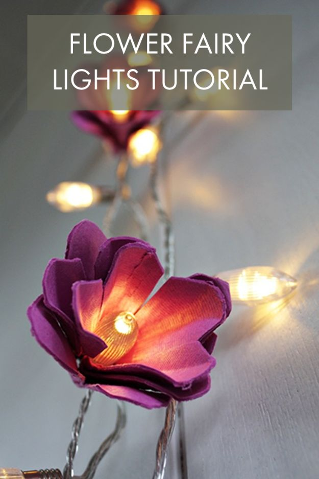 DIY Ideas With Faux Flowers - Flower Fairy Lights DIY - Paper, Fabric, Silk and Plastic Flower Crafts - Easy Arrangements, Wedding Decorations, Wall, Decorations, Letters, Cheap Home Decor