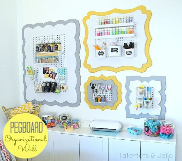 Craft Room Organization Ideas - Framed Peg Board - DIY Dollar Store Projects for Crafts - Budget Ways to Declutter While Organizing Supplies - Shelves, IKEA Hacks, Small Space Ideas
