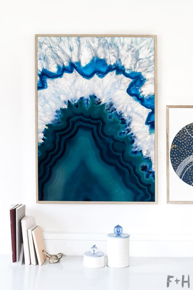 Free Printables For Your Walls - Free Blue Agate Wall Art - Easy Canvas Ideas With Free Downloadable Artwork and Quote Sayings - Best Free Prints for Wall Art and Picture to Print for Home and Bedroom Decor - Signs for the Home, Organization, Office - Quotes for Bedroom and Kitchens, Vintage Bathroom Pictures - Downloadable Printable for Kids - DIY and Crafts by DIY JOY #wallart #freeprintables #diyideas #diyart #walldecor #diyhomedecor #freeprintables