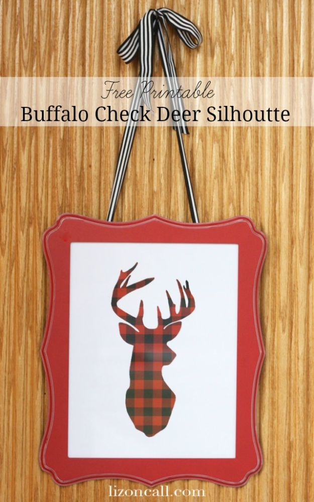 Free Printables For Your Walls - Free Printable Buffalo Check Deer Silhouette - Easy Canvas Ideas With Free Downloadable Artwork and Quote Sayings - Best Free Prints for Wall Art and Picture to Print for Home and Bedroom Decor - Signs for the Home, Organization, Office - Quotes for Bedroom and Kitchens, Vintage Bathroom Pictures - Downloadable Printable for Kids - DIY and Crafts by DIY JOY #wallart #freeprintables #diyideas #diyart #walldecor #diyhomedecor http://diyjoy.com/best-free-printables-wall-art