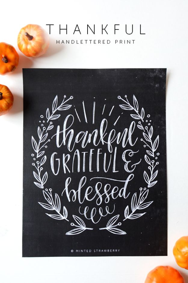 Free Printables For Your Walls - Free Printable Thankful Poster - Easy Canvas Ideas With Free Downloadable Artwork and Quote Sayings - Best Free Prints for Wall Art and Picture to Print for Home and Bedroom Decor - Signs for the Home, Organization, Office - Quotes for Bedroom and Kitchens, Vintage Bathroom Pictures - Downloadable Printable for Kids - DIY and Crafts by DIY JOY #wallart #freeprintables #diyideas #diyart #walldecor #diyhomedecor #freeprintables