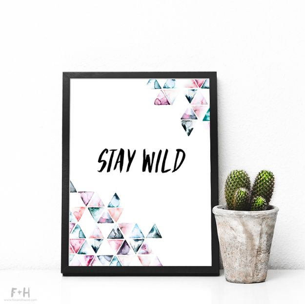 Free Printables For Your Walls - Free Triangle Watercolor Print - Free Printable - Easy Canvas Ideas With Free Downloadable Artwork and Quote Sayings - Best Free Prints for Wall Art and Picture to Print for Home and Bedroom Decor - Signs for the Home, Organization, Office - Quotes for Bedroom and Kitchens, Vintage Bathroom Pictures - Downloadable Printable for Kids - DIY and Crafts by DIY JOY #wallart #freeprintables #diyideas #diyart #walldecor #diyhomedecor #freeprintables