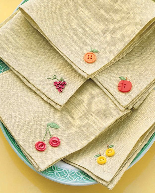 DIY Sewing Projects for the Home - Fruity Button Embroidery Napkins - Easy DIY Christmas Gifts and Ideas for Making Kitchen, Bedroom and Bathroom Decor - Free Step by Step Tutorial to Sew