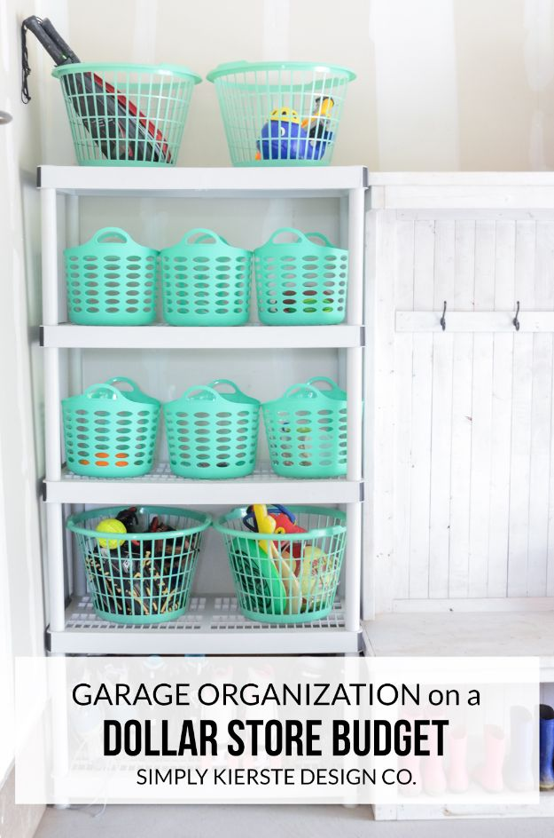 Dollar Store Organizing Ideas - Garage Organization On A Dollar Store Budget - Easy Organization Projects from Dollar Tree and Dollar Stores - Quick Closet Makeovers, Pantry Storage, Shoe Box Projects, Tension Rods, Car and Household Cleaning - Hacks and Tips for Organizing on a Budget - Cheap Idea for Reducing Clutter around the House, in the Kitchen and Bedroom http://diyjoy.com/dollar-store-organizing-ideas