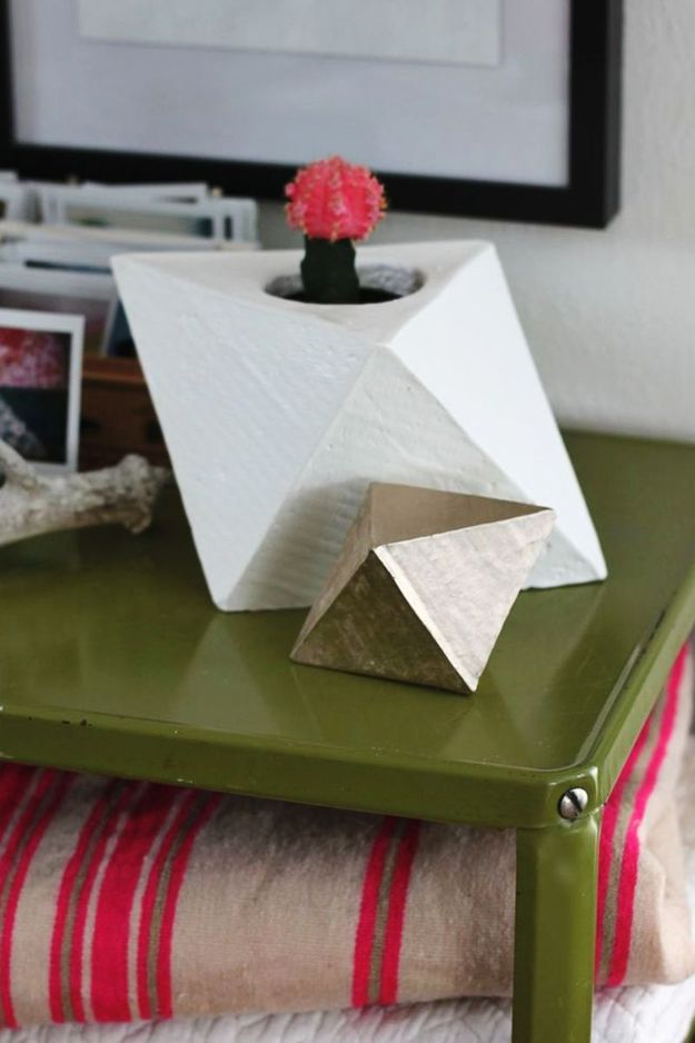 DIY Projects With Concrete - Geometric Planter DIY - Easy Home Decor and Cheap Crafts Made With Cement - Ideas for DIY Christmas Gifts, Outdoor Decorations