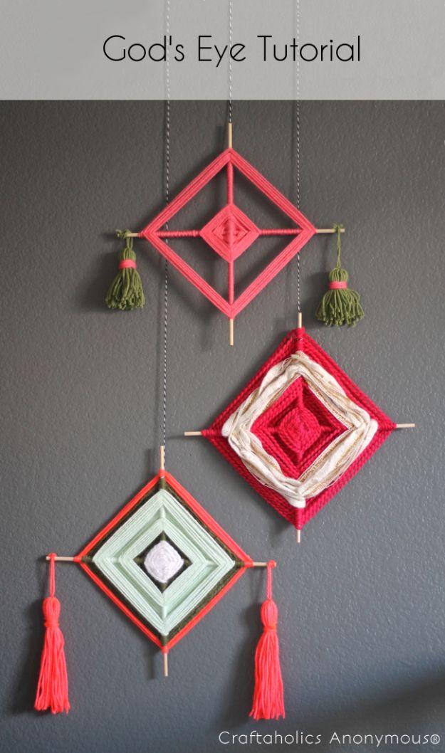 DIY Boho Decor Ideas - God's Eye Wall Hanger - DIY Bedroom Ideas - Cheap Hippie Crafts and Bohemian Wall Art - Easy Upcycling Projects for Living Room, Bathroom, Kitchen #boho #diy #diydecor