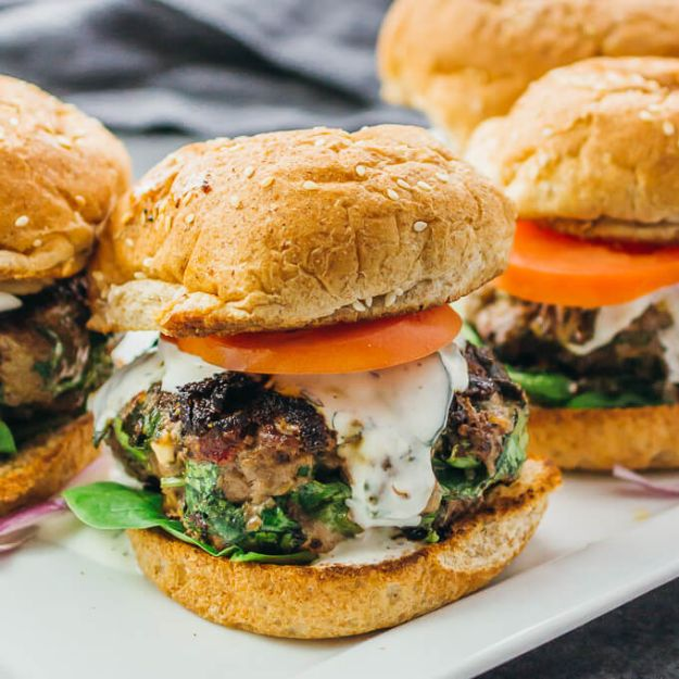 Best Recipes With Ground Beef - Greek Burgers With Spinach, Feta and Sun-Dried Tomatoes - Easy Dinners and Ground Beef Recipe Ideas - Quick Lunch Salads, Casseroles, Tacos, One Skillet Meals - Healthy Crockpot Foods With Hamburger Meat - Mexican Casserole, Instant Pot Carne Molida, Low Carb and Keto Diet - Rice, Pasta, Potatoes and Crescent Rolls #groundbeef #beefrecipes #beedrecipe #dinnerideas #dinnerrecipes http://diyjoy.com/best-recipes-ground-beef