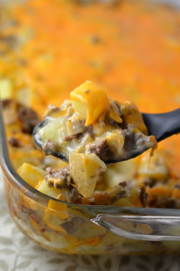 Best Recipes With Ground Beef - Ground Beef and Potato Casserole - Easy Dinners and Ground Beef Recipe Ideas - Quick Lunch Salads, Casseroles, Tacos, One Skillet Meals - Healthy Crockpot Foods With Hamburger Meat - Mexican Casserole, Instant Pot Carne Molida, Low Carb and Keto Diet - Rice, Pasta, Potatoes and Crescent Rolls #groundbeef #beefrecipes #beedrecipe #dinnerideas #dinnerrecipes http://diyjoy.com/best-recipes-ground-beef