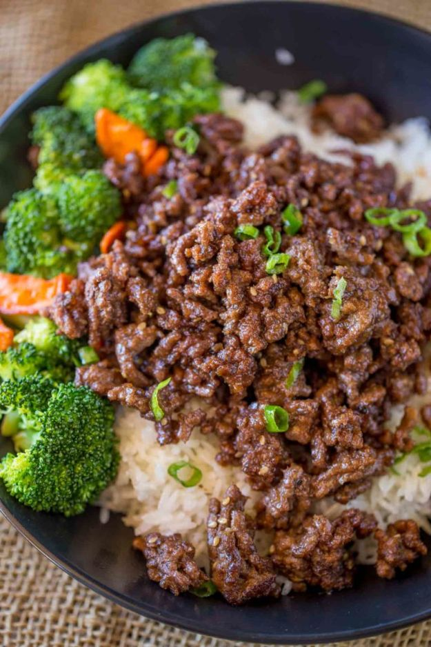 Best Recipes With Ground Beef - Ground Mongolian Beef - Easy Dinners and Ground Beef Recipe Ideas - Quick Lunch Salads, Casseroles, Tacos, One Skillet Meals - Healthy Crockpot Foods With Hamburger Meat - Mexican Casserole, Instant Pot Carne Molida, Low Carb and Keto Diet - Rice, Pasta, Potatoes and Crescent Rolls