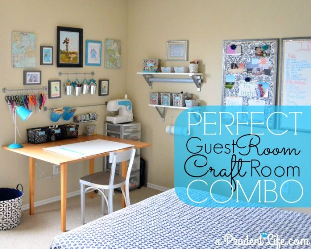 Craft Room Organization Ideas - Guest Room and Craft Room Combo - DIY Dollar Store Projects for Crafts - Budget Ways to Declutter While Organizing Supplies - Shelves, IKEA Hacks, Small Space Ideas