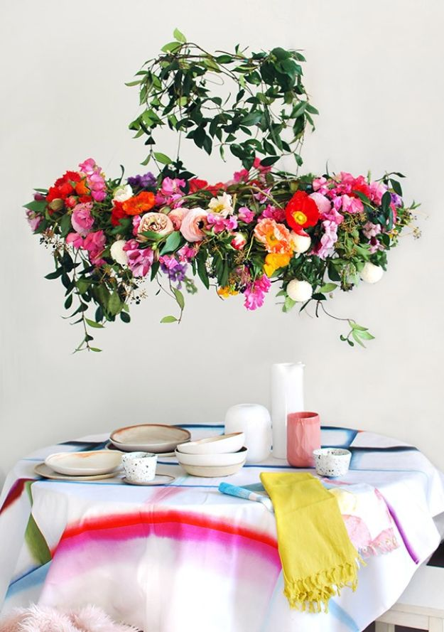DIY Ideas With Faux Flowers - Hanging Flower Chandelier - Paper, Fabric, Silk and Plastic Flower Crafts - Easy Arrangements, Wedding Decorations, Wall, Decorations, Letters, Cheap Home Decor