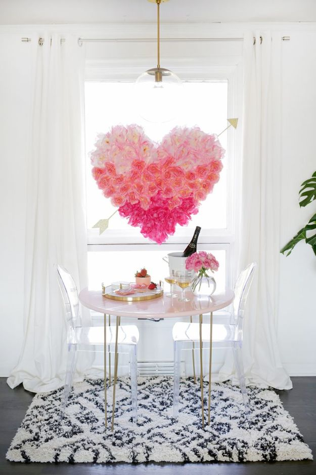 DIY Ideas With Faux Flowers - Hanging Flower Heart - Paper, Fabric, Silk and Plastic Flower Crafts - Easy Arrangements, Wedding Decorations, Wall, Decorations, Letters, Cheap Home Decor