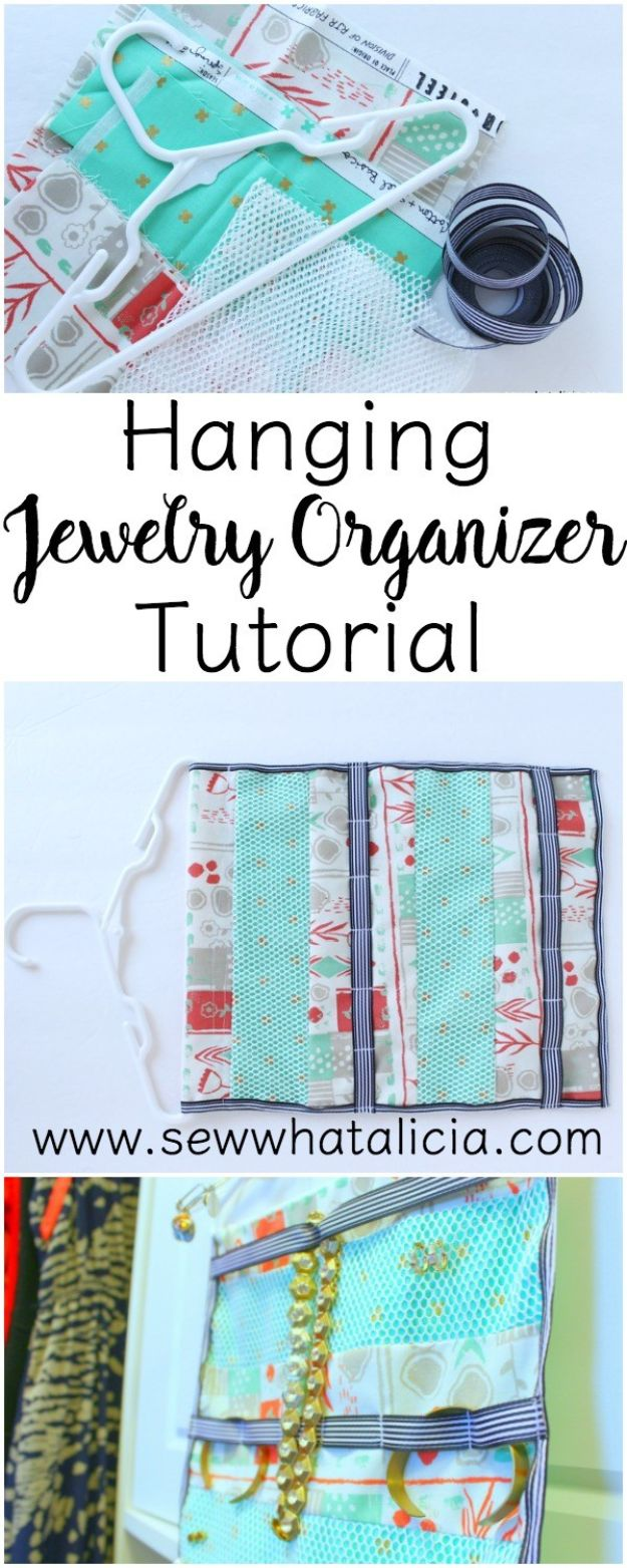DIY Sewing Projects for the Home - Hanging Jewelry Organizer - Easy DIY Christmas Gifts and Ideas for Making Kitchen, Bedroom and Bathroom Decor - Free Step by Step Tutorial to Sew