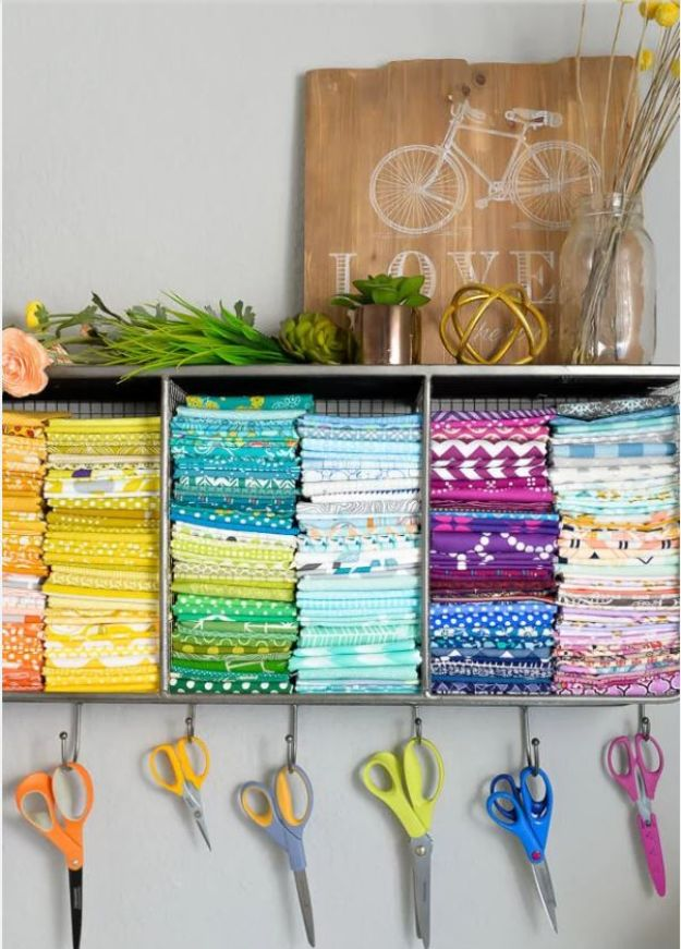 Craft Room Organization Ideas - Hanging Scissors and Fabric Space - DIY Dollar Store Projects for Crafts - Budget Ways to Declutter While Organizing Supplies - Shelves, IKEA Hacks, Small Space Ideas