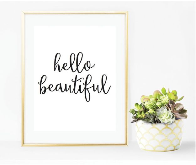 Free Printables For Your Walls - Hello Beautiful Free Printable - Easy Canvas Ideas With Free Downloadable Artwork and Quote Sayings - Best Free Prints for Wall Art and Picture to Print for Home and Bedroom Decor - Signs for the Home, Organization, Office - Quotes for Bedroom and Kitchens, Vintage Bathroom Pictures - Downloadable Printable for Kids - DIY and Crafts by DIY JOY #wallart #freeprintables #diyideas #diyart #walldecor #diyhomedecor #freeprintables