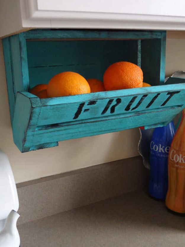 Dollar Store Organizing Ideas - High and Dry Fresh Fruit Crate - Easy Organization Projects from Dollar Tree and Dollar Stores - Quick Closet Makeovers, Pantry Storage, Shoe Box Projects, Tension Rods, Car and Household Cleaning - Hacks and Tips for Organizing on a Budget - Cheap Idea for Reducing Clutter around the House, in the Kitchen and Bedroom http://diyjoy.com/dollar-store-organizing-ideas