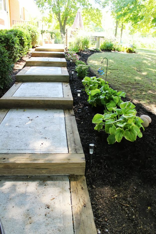 DIY Walkways - Hillside Sidewalk - Do It Yourself Walkway Ideas for Paths to The Front Door and Backyard - Cheap and Easy Pavers and Concrete Path and Stepping Stones - Wood and Edging, Lights, Backyard and Patio Walks With Gravel, Sand, Dirt and Brick http://diyjoy.com/diy-walkways