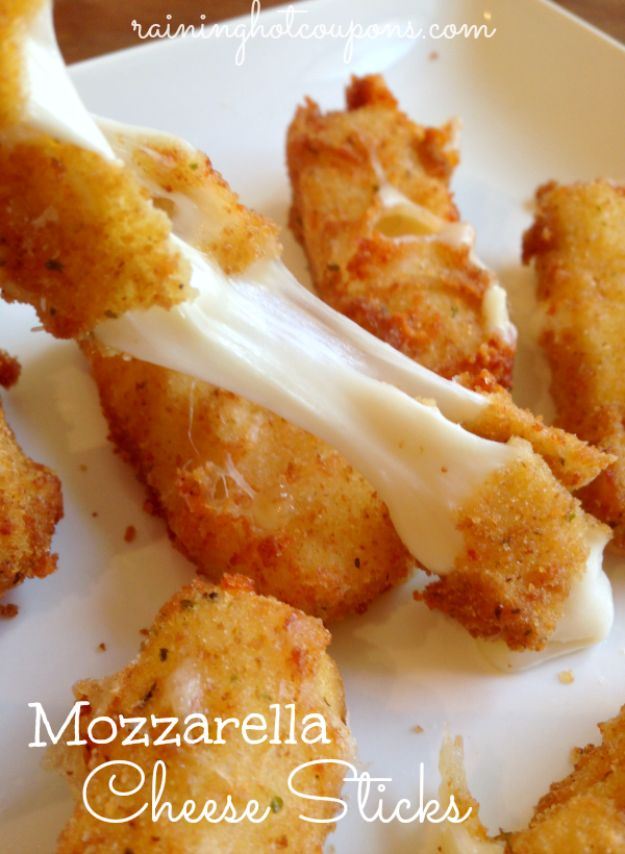 Best Recipes for the Cheese Lover - Homemade Mozzarella Cheese Sticks - Easy Recipe Ideas With Cheese - Homemade Appetizers, Dips, Dinners, Snacks, Pasta Dishes, Healthy Lunches and Soups Made With Your Favorite Cheeses - Ricotta, Cheddar, Swiss, Parmesan, Goat Chevre, Mozzarella and Feta Ideas - Grilled, Healthy, Vegan and Vegetarian #cheeserecipes #recipes #recipeideas #cheese #cheeserecipe http://diyjoy.com/best-recipes-cheese-lover
