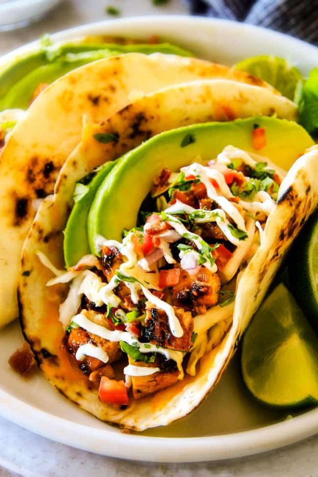 Best Mexican Food Recipes - Honey Chipotle Chicken Tacos - Authentic Mexican Foods and Recipe Ideas for Casseroles, Quesadillas, Tacos, Appetizers, Tamales, Enchiladas, Crockpot, Chicken, Beef and Healthy Foods - Desserts and Dessert Ideas Like Churros , Flan amd Sopapillas #recipes #mexicanfood #mexicanrecipes #recipeideas #mexicandishes http://diyjoy.com/mexican-food-recipes