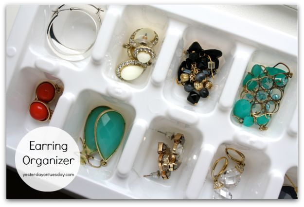 Dollar Store Organizing Ideas - Ice Cube Earring Organizer - Easy Organization Projects from Dollar Tree and Dollar Stores - Quick Closet Makeovers, Pantry Storage, Shoe Box Projects, Tension Rods, Car and Household Cleaning - Hacks and Tips for Organizing on a Budget - Cheap Idea for Reducing Clutter around the House, in the Kitchen and Bedroom http://diyjoy.com/dollar-store-organizing-ideas
