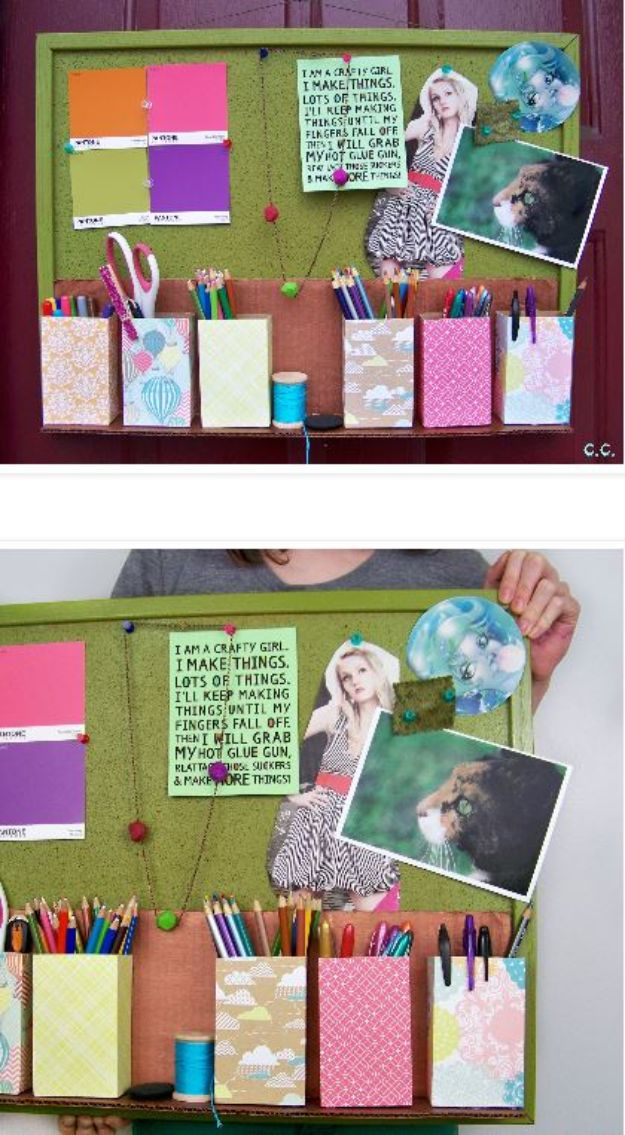 Cool DIY Ideas With Cereal Boxes - Inspiration Board Organizer - Easy Organizing Ideas, Cute Kids Crafts and Creative Ways to Make Things Out of A Cereal Box - Cheap Gifts, DIY School Supplies and Storage Ideas http://diyjoy.com/diy-ideas-cereal-boxes