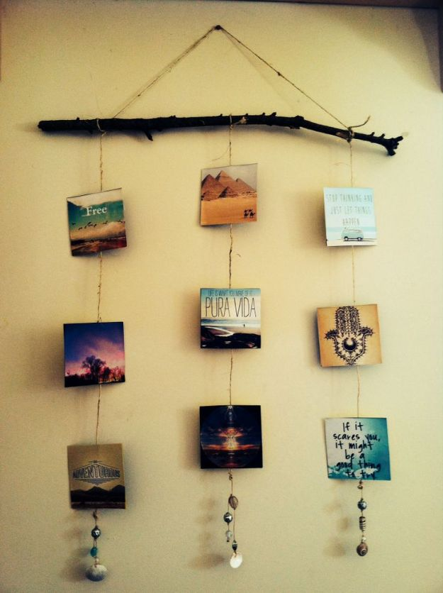 DIY Boho Decor Ideas - Instagram Style Photo Branch Mobile - DIY Bedroom Ideas - Cheap Hippie Crafts and Bohemian Wall Art - Easy Upcycling Projects for Living Room, Bathroom, Kitchen #boho #diy #diydecor