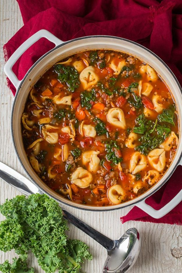 Best Kale Recipes - Italian Sausage, Kale and Tortellini Soup - How to Cook Kale at Home - Healthy Green Vegetable Cooking for Salads, Soup, Lunches, Stir Fry and Dinner - Kale Chips. Salad, Shredded, Cooked, Fresh and Sauteed Kale - Vegan, Vegetarian, Keto, Low Carb and Lowfat Recipe Ideas #kale #kalerecipes #vegetablerecipes #veggies #recipeideas #dinnerideas http://diyjoy.com/best-kale-recipes