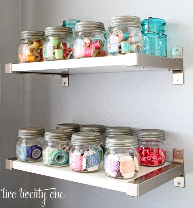 Craft Room Organization Ideas - Jelly Jars Organizer - DIY Dollar Store Projects for Crafts - Budget Ways to Declutter While Organizing Supplies - Shelves, IKEA Hacks, Small Space Ideas