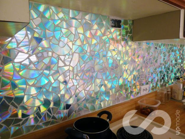 DIY Ideas With Old CD - Kitchen Backsplash - Recycle Jewelry, Room Decoration Mosaic, Coasters, Garden Art and DIY Home Decor Using Broken DVD - Photo Album, Wall Art and Mirror - Cute and Easy DIY Gifts for Birthday and Christmas Holidays