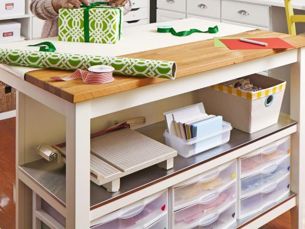 Craft Room Organization Ideas - Kitchen Island as a Crafts Table - DIY Dollar Store Projects for Crafts - Budget Ways to Declutter While Organizing Supplies - Shelves, IKEA Hacks, Small Space Ideas
