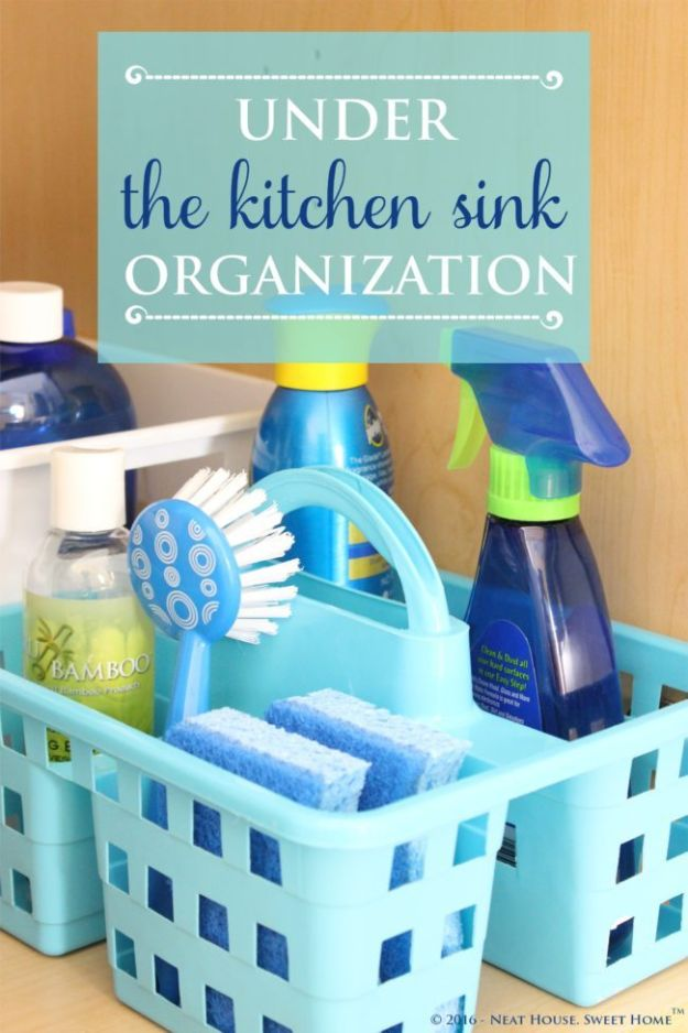 Dollar Store Organizing Ideas - Kitchen Sink Organization - Easy Organization Projects from Dollar Tree and Dollar Stores - Quick Closet Makeovers, Pantry Storage, Shoe Box Projects, Tension Rods, Car and Household Cleaning - Hacks and Tips for Organizing on a Budget - Cheap Idea for Reducing Clutter around the House, in the Kitchen and Bedroom http://diyjoy.com/dollar-store-organizing-ideas