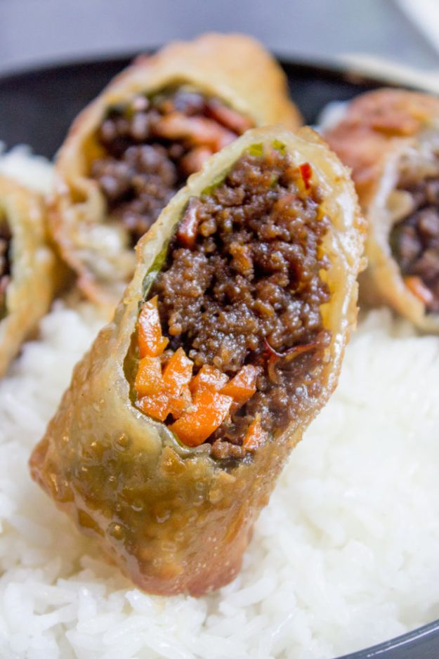 Best Recipes With Ground Beef - Korean Ground Beef Egg Rolls - Easy Dinners and Ground Beef Recipe Ideas - Quick Lunch Salads, Casseroles, Tacos, One Skillet Meals - Healthy Crockpot Foods With Hamburger Meat - Mexican Casserole, Instant Pot Carne Molida, Low Carb and Keto Diet - Rice, Pasta, Potatoes and Crescent Rolls #groundbeef #beefrecipes #beedrecipe #dinnerideas #dinnerrecipes http://diyjoy.com/best-recipes-ground-beef
