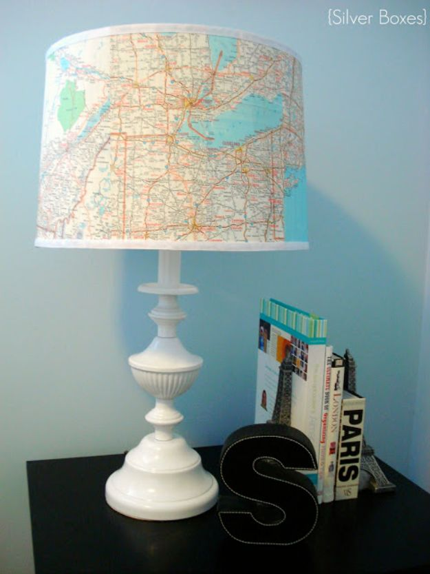 DIY Ideas With Maps - Lamp Revamp Using Maps - Easy Crafts, Home Decor, Art and Gifts Your Can Make With A Map - Pinboard, Canvas, Painting, Paper Flowers, Signs Projects