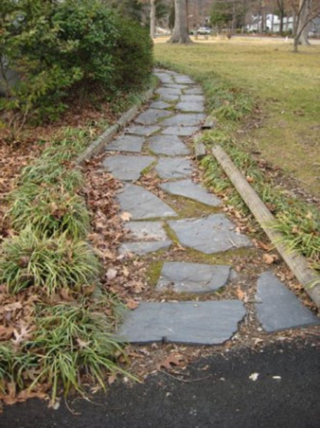 DIY Walkways - Lay A Slate Walkway - Do It Yourself Walkway Ideas for Paths to The Front Door and Backyard - Cheap and Easy Pavers and Concrete Path and Stepping Stones - Wood and Edging, Lights, Backyard and Patio Walks With Gravel, Sand, Dirt and Brick http://diyjoy.com/diy-walkways