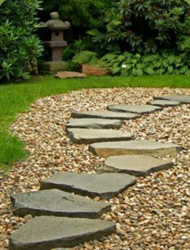 DIY Walkways - Lay a Stone Path - Do It Yourself Walkway Ideas for Paths to The Front Door and Backyard - Cheap and Easy Pavers and Concrete Path and Stepping Stones - Wood and Edging, Lights, Backyard and Patio Walks With Gravel, Sand, Dirt and Brick #diyideas