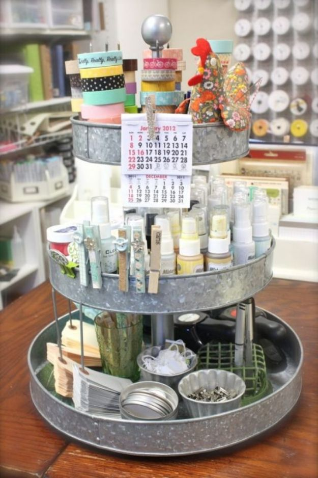 Craft Room Organization Ideas - Lazy Susan Craft Supplies Holder - DIY Dollar Store Projects for Crafts - Budget Ways to Declutter While Organizing Supplies - Shelves, IKEA Hacks, Small Space Ideas