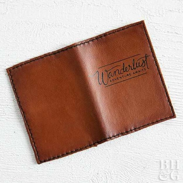 DIY Gifts for Him - Leather Bag into a DIY Passport Cover - Homemade Gift Ideas for Guys - DYI Christmas Gift for Dad, Boyfriend, Husband Brother - Easy and Cheap Handmade Presents Birthday https://diyjoy.com/diy-gifts-for-him