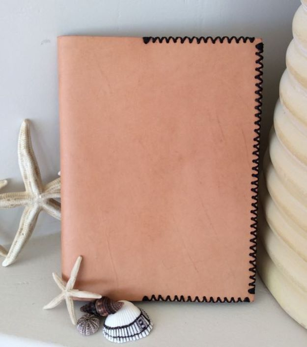 DIY Journals - Leather Journal Cover - Ideas For Making A Handmade Journal - Cover Art Tutorial, Binding Tips, Easy Craft Ideas for Kids and For Teens - Step By Step Instructions for Making From Scratch, From An Old Book - Leather, Faux Marble, Paper, Monogram, Cute Do It Yourself Gift Idea http://diyjoy.com/diy-journals