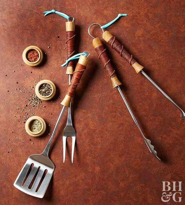 DIY Gifts for Him - Leather-Wrapped Grill Utensils - Homemade Gift Ideas for Guys - DYI Christmas Gift for Dad, Boyfriend, Husband Brother - Easy and Cheap Handmade Presents Birthday https://diyjoy.com/diy-gifts-for-him