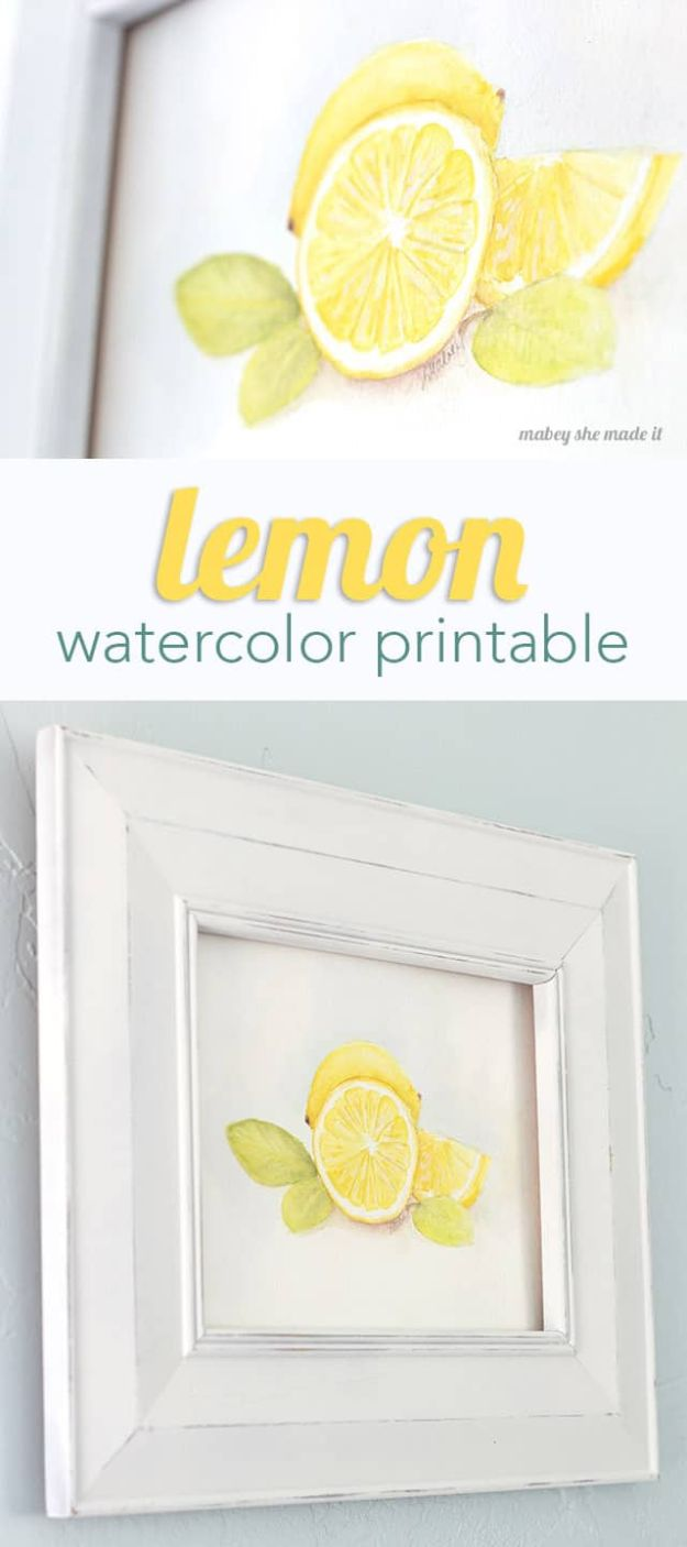Free Printables For Your Walls - Lemon Watercolor Printable - Easy Canvas Ideas With Free Downloadable Artwork and Quote Sayings - Best Free Prints for Wall Art and Picture to Print for Home and Bedroom Decor - Signs for the Home, Organization, Office - Quotes for Bedroom and Kitchens, Vintage Bathroom Pictures - Downloadable Printable for Kids - DIY and Crafts by DIY JOY #wallart #freeprintables #diyideas #diyart #walldecor #diyhomedecor #freeprintables