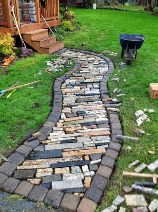 DIY Walkways - Make A Walkway Using Recycled Counter Top Granite Scrap - Do It Yourself Walkway Ideas for Paths to The Front Door and Backyard - Cheap and Easy Pavers and Concrete Path and Stepping Stones - Wood and Edging, Lights, Backyard and Patio Walks With Gravel, Sand, Dirt and Brick #diyideas