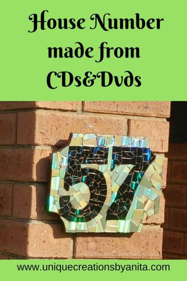 DIY Ideas With Old CD - Make House Numbers From CDs - Recycle Jewelry, Room Decoration Mosaic, Coasters, Garden Art and DIY Home Decor Using Broken DVD - Photo Album, Wall Art and Mirror - Cute and Easy DIY Gifts for Birthday and Christmas Holidays