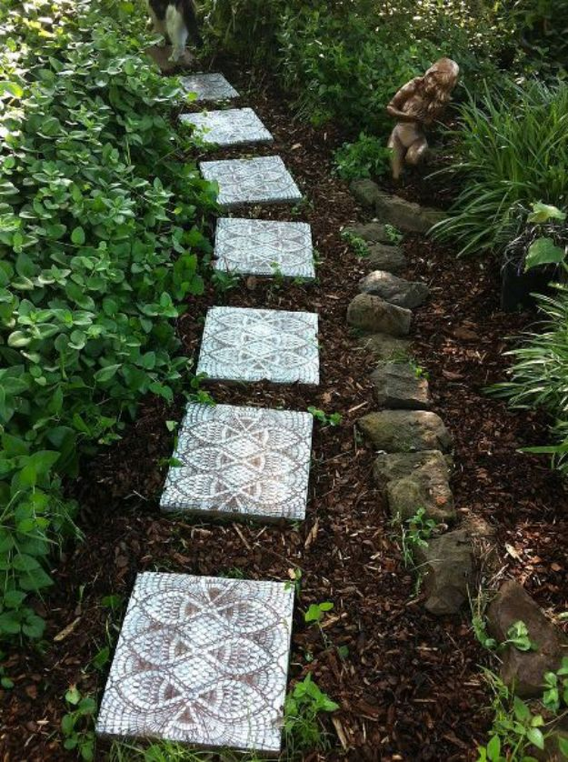 DIY Walkways - Make Lace-like Stepping Stones - Do It Yourself Walkway Ideas for Paths to The Front Door and Backyard - Cheap and Easy Pavers and Concrete Path and Stepping Stones - Wood and Edging, Lights, Backyard and Patio Walks With Gravel, Sand, Dirt and Brick http://diyjoy.com/diy-walkways