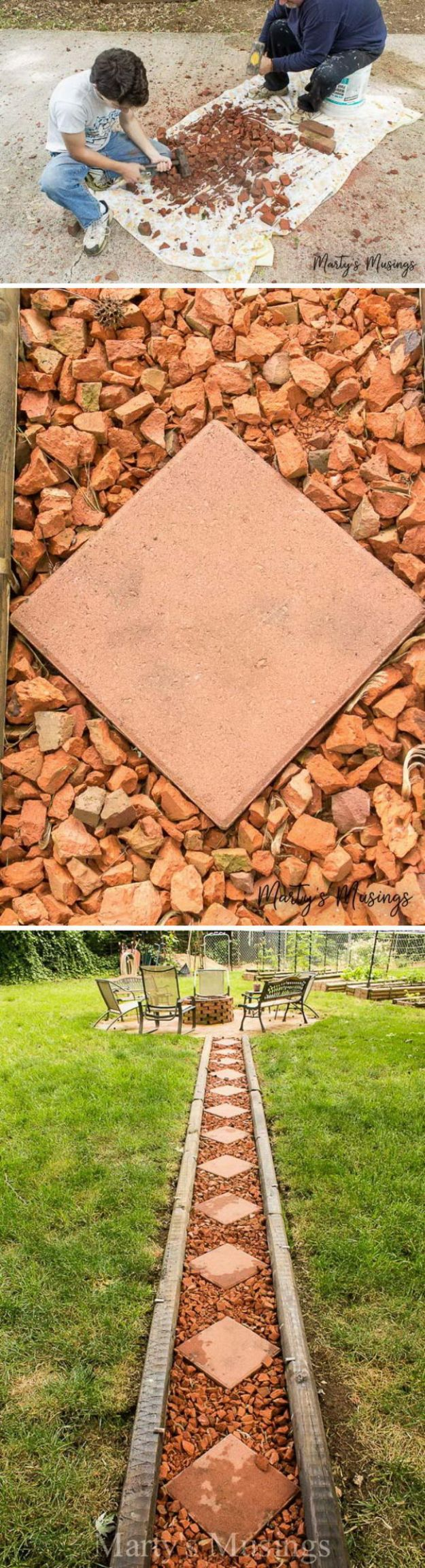 DIY Walkways - Make Your Own Brick Pathway For Under $50 - Do It Yourself Walkway Ideas for Paths to The Front Door and Backyard - Cheap and Easy Pavers and Concrete Path and Stepping Stones - Wood and Edging, Lights, Backyard and Patio Walks With Gravel, Sand, Dirt and Brick #diyideas
