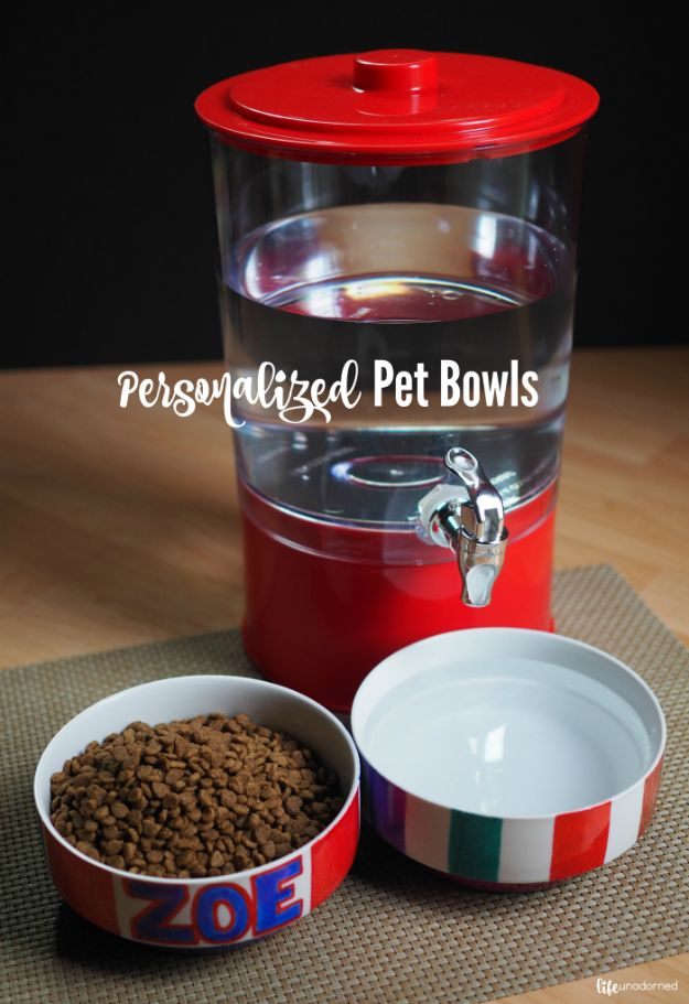 DIY Pet Bowls And Feeding Stations - Make Your Own DIY Pet Bowls - Easy Ideas for Serving Dog and Cat Food, Ways to Raise and Store Bowls - Organize Your Dog Food and Water Bowl With These Cute and Creative Ideas for Dogs and Cats- Monogram, Painted, Personalized and Rustic Crafts and Projects http://diyjoy.com/diy-pet-bowls-feeding-station