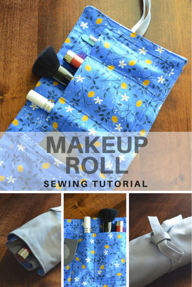 DIY Sewing Projects for the Home - Makeup Roll - Easy DIY Christmas Gifts and Ideas for Making Kitchen, Bedroom and Bathroom Decor - Free Step by Step Tutorial to Sew