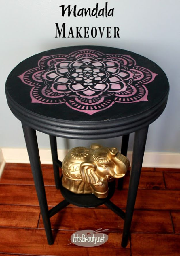 DIY Boho Decor Ideas - Mandala Painted Table Makeover - DIY Bedroom Ideas - Cheap Hippie Crafts and Bohemian Wall Art - Easy Upcycling Projects for Living Room, Bathroom, Kitchen #boho #diy #diydecor